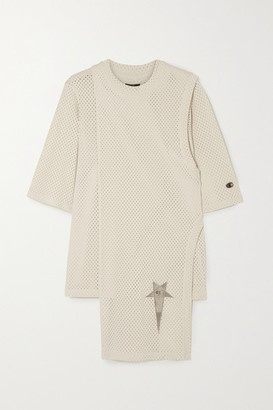 Rick Owens Champion Toga Layered Embroidered Mesh T-shirt - Cream