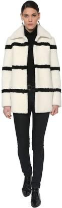 Saint Laurent Striped Shearling Coat