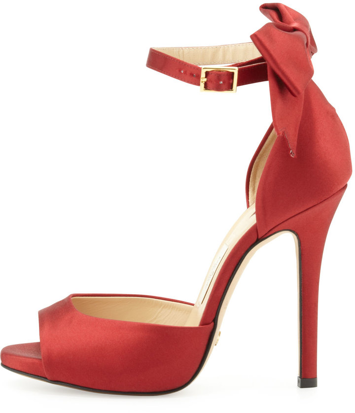 Kate Spade Chrissie Satin Bow D'orsay Sandal, Red