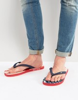 Hollister Flip Flops Americana Print In Blue
