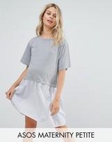 Asos Petite T-Shirt Smock Dress With Woven Frill Hem