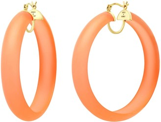 Gold & Honey Frosted Lucite Hoops - Orange