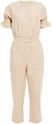 Joie Cropped Ruffle-trimmed Woven Jumpsuit