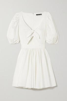 Rotate by Birger Christensen Marie Tie-front Cutout Organic Cotton-poplin Mini Dress - White