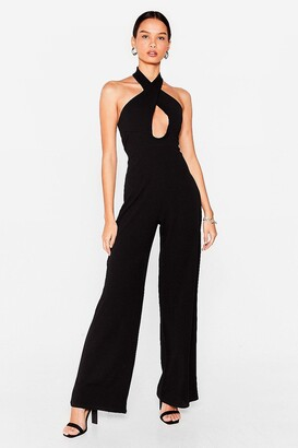 Nasty Gal Womens Wait It Cut-Out Halter Wide-Leg Jumpsuit - Black - 6, Black