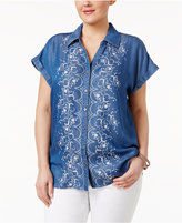 Style&Co. Style & Co Plus Size Denim Embroidered Shirt, Created for Macy's