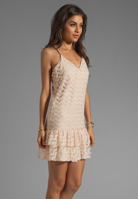 Milly Chevron Tulle Lace Tank Dress