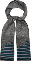 Missoni Chevron and striped wool scarf