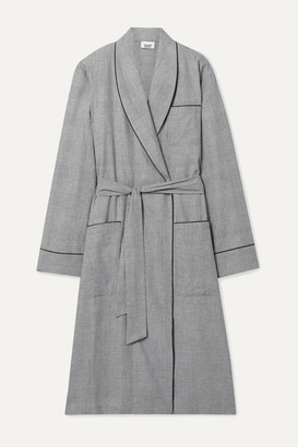 Sleepy Jones Prince Of Wales Checked Cotton Robe - Gray