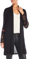 Joseph A Embroidered Sleeve Open Cardigan