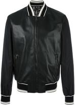 Dolce & Gabbana leather bomber jacket - men - Sheep Skin/Shearling/Polyamide/Polyester - 48