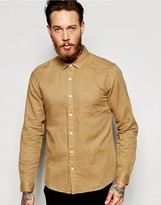 Asos Laundered Linen Shirt In Stone With Long Sleeves In Regular Fit