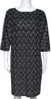 M Missoni Monochrome Chevron Lurex Knit Shift Dress S