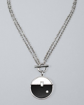 Chicos Convertible Two-Tone Abstract Pendant Necklace with Mother-of-Pearl & Onyx