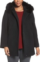 Sachi Plus Size Women's Wool Blend Coat With Genuine Fox Fur Trim