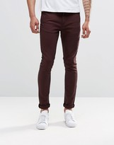 Asos Super Skinny Jeans In Dark Brown