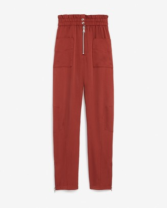 Express High Waisted Patch Pocket Paperbag Ankle Pant