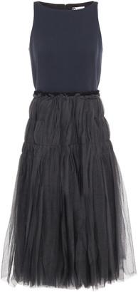 Lanvin Jersey-paneled Tiered Tulle Midi Dress