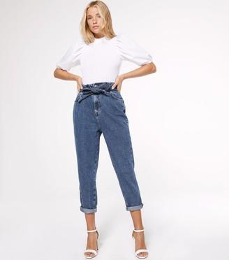 New Look Petite Elasticated High Tie Waist Tori Mom Jeans