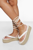 Thumbnail for your product : boohoo Wide Fit Chunky Toe Post Flatform