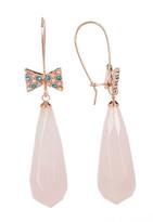 Betsey Johnson Pave Bow Drop Rose Quartz Earrings