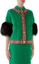Gucci Tweed Short Jacket with Faux Fur Cuffs