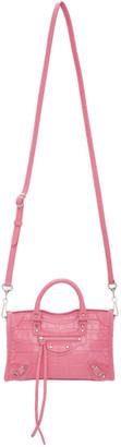 Balenciaga Pink Croc Classic Nano City Bag