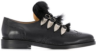 Toga Pulla Faux Fur Embellished Lace-Up Brogues