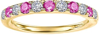 Lafonn Gold Plated October Lab Grown Tourmaline Birthstone Band Ring