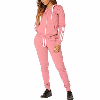 Yying Women Activewear Set Hooded Long Sleeve Sweatshirt + Elastic Waist Drawstring Sweatpants Letter Printing Zip Cardigan Classic Stripe Sportswear 2 Piece Outfits Exercise Fitness Yoga Running Tracksuit