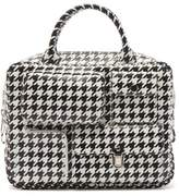 Comme des Garcons Houndstooth-print Faux-leather Bag - Womens - White Black
