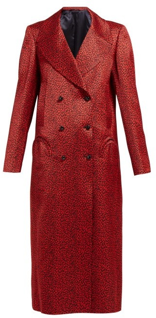 BLAZÉ MILANO Billy Double Breasted Leopard Print Satin Coat - Womens - Red