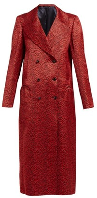 BLAZÉ MILANO Billy Double-breasted Leopard-print Satin Coat - Red