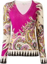 Etro V-neck knitted T-shirt - women - Silk/Spandex/Elastane - 40