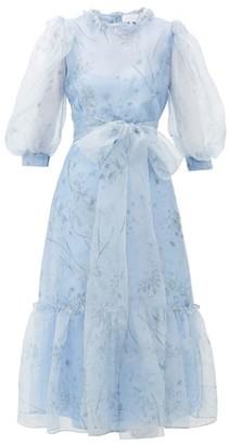 Luisa Beccaria Balloon-sleeve Floral-print Silk Midi Dress - Womens - Blue Multi