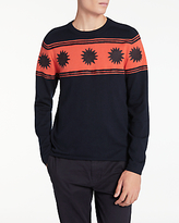 Ps By Paul Smith Felt Punch Star Crew Neck Jumper, Navy