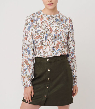 LOFT Floral Pintucked Blouse