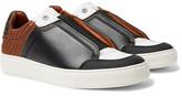 Ermenegildo Zegna Pelle Tessuta Leather Slip-On Sneakers