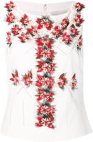 Carolina Herrera sleeveless embroidered blouse
