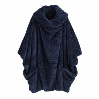Kalorywee Ladies Winter Coats 2018 Sale Women Casual Solid Turtleneck Big Pockets Cloak Coats Vintage Oversize Coats Blue