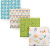 Luvable Friends Four-Piece Flannel Receiving Blanket - Set of Four