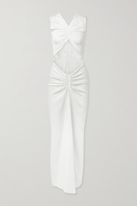 CHRISTOPHER ESBER Ruched Cutout Stretch-jersey Maxi Dress - White
