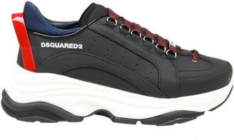 DSQUARED2 High Sole Sneakers In Black Leather