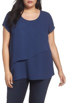 Sejour Plus Size Women's Asymmetrical Double Layer Top
