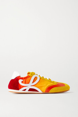 Loewe Leather, Shell And Suede Sneakers - Orange