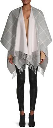 Saks Fifth Avenue Windowpane Check Merino Wool Cape