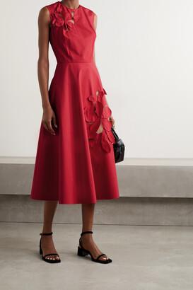 OSCAR DE LA RENTA - Appliqued Tulle-paneled Cotton-blend Poplin Midi Dress - Red