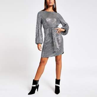 River Island Womens Silver sequin long puff sleeve belted dress