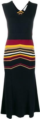 Victoria Beckham Cut-Out Striped Midi Dress