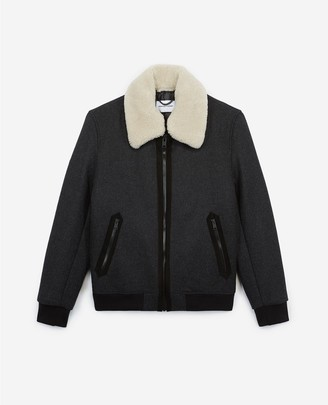 The Kooples Zipped grey wool jacket with leather collar